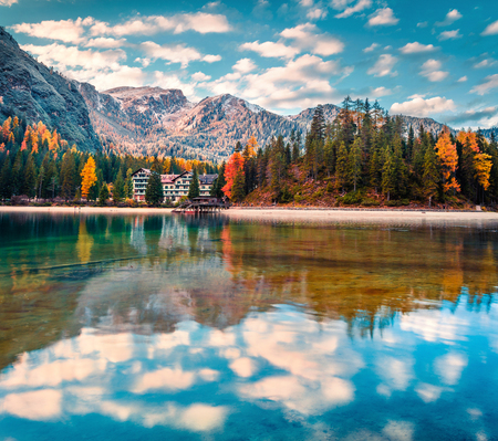 Captivating  morning voew of Braies Lake. Colorful autumn landscape of Italian Alps, Naturpark Fanes-Sennes-Prags, Dolomite, Italy, Europe. Traveling concept background. Stock Photo