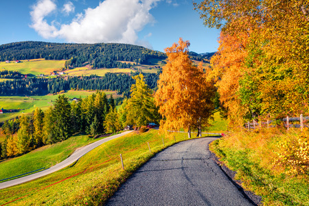 Picturesque autumn view of Santa Maddalena village. Colorful morning scene of Dolomite Alps, Italy, Europe. Beauty of countryside concept background. Artistic style post processed photo. Stockfoto