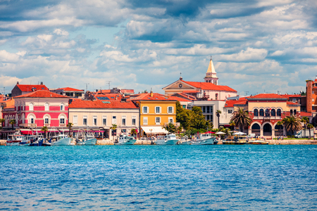 Splendid morning cityscape of popular summer resort Porec. Colorful spring seascape of Adriatic Sea. Great  scene of Istrian Peninsula in western Croatia, Europe. Traveling concept background.