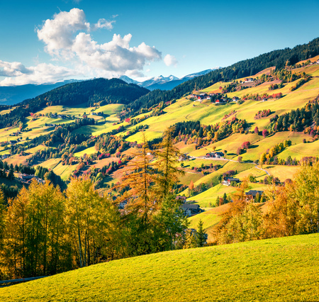 Great autumn view of Santa Maddalena village. Colorful morning landscape of Dolomite Alps, Italy, Europe. Beauty of countryside concept background. Stock Photo - 116546526