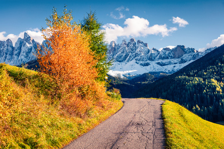 Great view of Santa Maddalena village in front of the Geisler or Odle Dolomites Group. Colorful autumn scene of Dolomite Alps, Italy, Europe. Beauty of countryside concept background.
