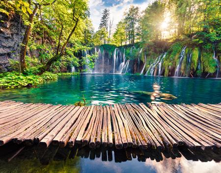 Malowniczy poranek widok na Park Narodowy Plitvice. Kolorowa wiosna scena zielonego lasu z wodospadem czystej wody. Wspaniały krajobraz wsi Chorwacji, Europy. Piękno natury koncepcja tło.