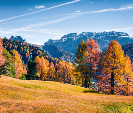 Picturesque autumn view of Dolomite Alps. Colorful morning scene of Cortina dAmpezzo town, Italy, Europe. Beauty of countryside concept background. Stockfoto