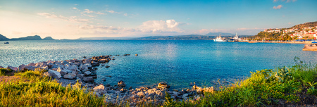 Picturesque morning view of Pilos town. Colorful spring scene of the Ionian Sea. Beautiful countryside panorama of Greece. Traveling concept background. Artistic style post processed photo. Stock Photo