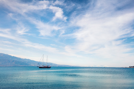 Beautiful summer view of the Nafpaktos shore. Fantastic morning scene of the Gulf of Corinth, Greece, Europe. Traveling concept background. Beauty of countryside concept background. Stock Photo