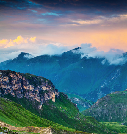 Dramatic morning view of Grossglockner mountain range from Grossglockner High Alpine Road. Colorful sunset in Austrian Alps, Zell am See district, state of Salzburg in Austria, Europe. Stock Photo