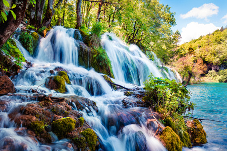 Bright morning in Plitvice National Park. Colorful spring scene of green forest with pure water waterfall. Great countryside view of Croatia, Europe. Traveling concept background.