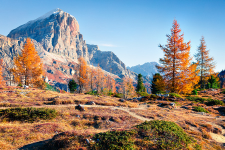 Incredible view from top of Falzarego pass with Lagazuoi mountain range. Colorful autumn morning in Dolomite Alps, Cortina dAmpezzo lacattion, Italy, Europe. Beauty of nature concept background.