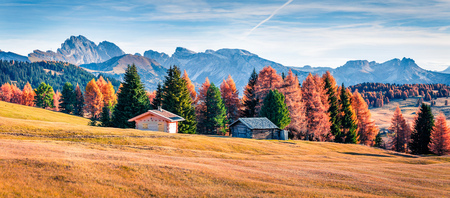 Splendid outdoor panorama of Alpe di Siusi mountain plateau with beautiful yellow larch trees. Colorful autumn morning in Dolomite Alps, Ortisei locattion, Italy, Europe. Beauty of countryside concept background.