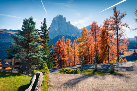 Nice autumn view of Dolomite Alps. Colorful morning scene of Cortina d'Ampezzo town, Italy, Europe. Beauty of countryside concept background.