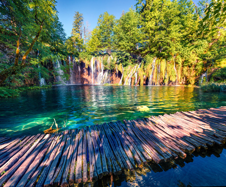 Nice morning view of Plitvice National Park. Colorful spring scene of green forest with pure water waterfall. Great countryside landscape of Croatia, Europe. Traveling concept background. Stock Photo