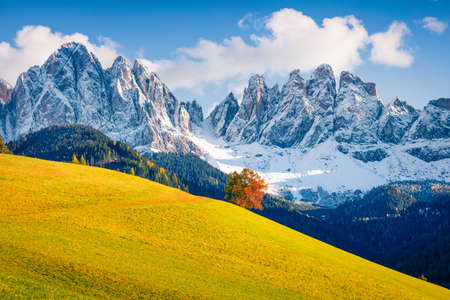 Bright view of Santa Maddalena village hills in front of the Geisler or Odle Dolomites Group. Colorful autumn scene of Dolomite Alps, Italy, Europe. Beauty of nature concept background. Banque d'images