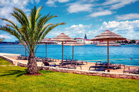 Picturesque spring view of popular summer resort Porec. Colorful spring seascape of Adriatic Sea. Great morning scene of Istrian Peninsula in western Croatia, Europe. Vacation concept background.