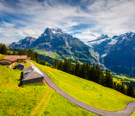 Colorful morning view of Grindelwald village valley from cableway. Wellhorn mountain, Bernese Oberland Alps. Switzerland, Europe. Beauty of nature concept background. Foto de archivo - 116550518