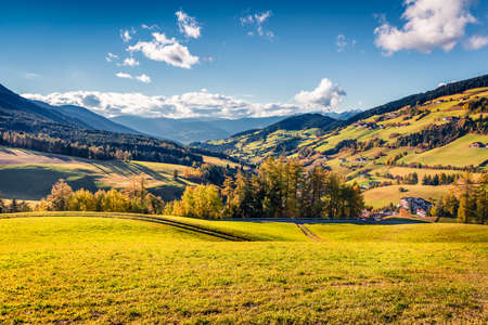Beautiful autumn view of Santa Maddalena village. Colorful morning landscape of Dolomite Alps, Italy, Europe. Beauty of countryside concept background.
