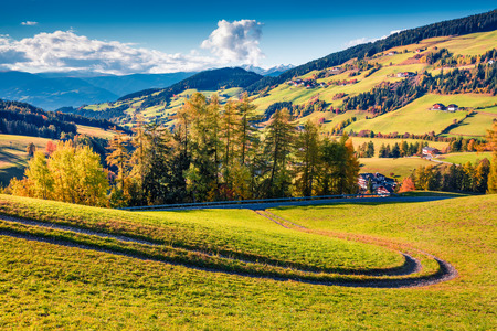 Beautiful autumn view of Santa Magdalena village. Colorful morning landscape of Dolomite Alps, Italy, Europe. Beauty of countryside concept background. Stock Photo