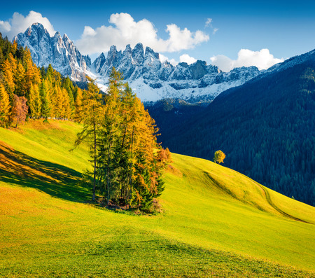 Magnificent view of Santa Maddalena village hills in front of the Geisler or Odle Dolomites Group. Colorful autumn scene of Dolomite Alps, Italy, Europe. Beauty of nature concept background. Foto de archivo - 116550585