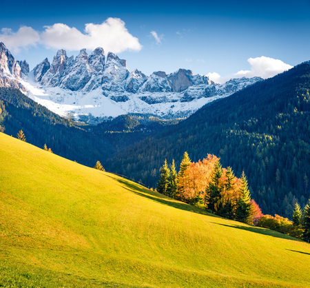 Wonderful view of Santa Maddalena village hills in front of the Geisler or Odle Dolomites Group. Colorful autumn scene of Dolomite Alps, Italy, Europe. Beauty of nature concept background.
