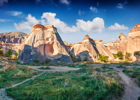 Fabulous ungous forms of sandstone in the canyon near Cavusin village, Cappadocia, Nevsehir Province in the Central Anatolia Region of Turkey, Asia. Beauty of nature concept background.