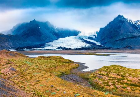 Melting ice from Vatnajokull glacier. Dramatic summer scene of Vatnajokull National Park, Iceland, Europe. Beauty of nature concept background.