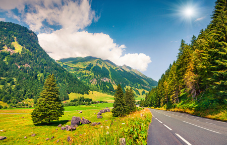 Beautiful summer view of famous Grossglockner High Alpine Road. Great morning scene of Austrian Alps, Upper Austria, Europe. Traveling concept background. Stock Photo