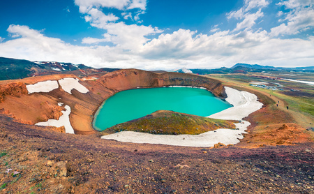 Colorful summer scene of crater pool of Krafla volcano. Dramatic morning view of Northeast Iceland, Myvatn lake located, Europe. Beauty of nature concept background.