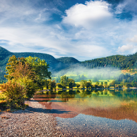 Bright summer view of Bohinj lake. Picturesque morning scene of Triglav National Park, Slovenia, Julian Alps, Europe. Beauty of nature concept background.