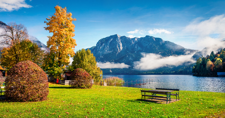 Stunning autumn scene of Altausseer See lake. Great morning view from cozy resting place in Altaussee village, district of Liezen in Styria, Austria. Beauty of countryside concept background.