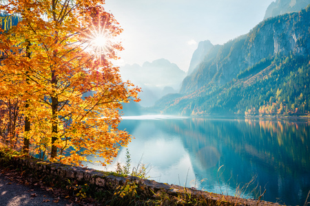 Fabulous autumn scene of Vorderer ( Gosausee ) lake. Amazing morning view of Austrian Alps, Upper Austria, Europe. Beauty of nature concept background. Foto de archivo - 116551566