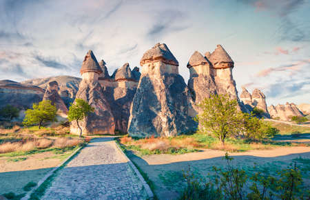 Mystical fungous forms of sandstone in the canyon near Cavusin village, Cappadocia, Nevsehir Province in the Central Anatolia Region of Turkey, Asia. Beauty of nature concept background.