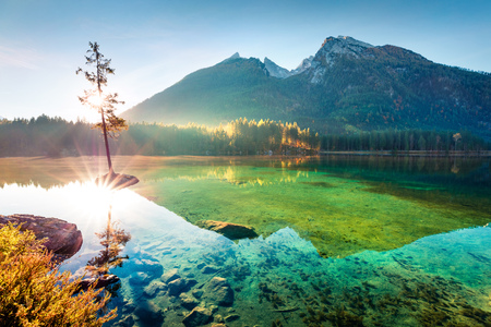 Wonderful autumn sunrise of Hintersee lake. Amazing morning view of Bavarian Alps on the Austrian border, Germany, Europe. Beauty of nature concept background. Foto de archivo - 116551614