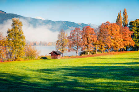Colorful autumn scene of Kurpark in Thumersbach village, located on the shore of the Zell lake. Great morning view of Austrian Alps, Europe. Beauty of countryside concept background. Foto de archivo - 116551698