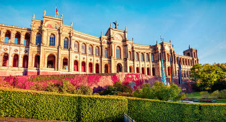 Stunning evening view of Maximilianeum, Home of the Bavarian State Parliament, with interiors viewable by guided tour only and a park setting, Munich, Bavaria, Germany, Europe.