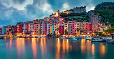 Fantasticspring sunset in Portovenere town. Picturesque evening seascape of Mediterranean sea,  Liguria, province of La Spezia, Italy, Europe. Traveling concept background. 스톡 콘텐츠