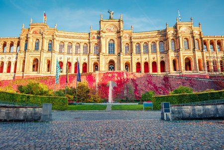 Great evening view of Maximilianeum, Home of the Bavarian State Parliament, with interiors viewable by guided tour only and a park setting, Munich, Bavaria, Germany, Europe.