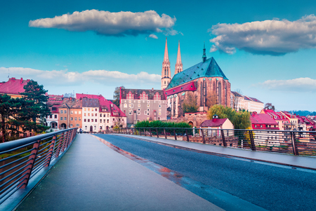 Marvelous sunrise view of St Peter and Paul's Church, on the Polish border. Colorful autumn cityscape of Gorlitz, eastern Germany, Europe. Traveling concept background. Stock Photo