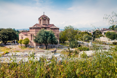 Church of the Holy Apostles, also known as Holy Apostles of Solaki or Agii Apostoli, located in the Ancient Agora of Athens, Greece. Traveling concept background. 스톡 콘텐츠