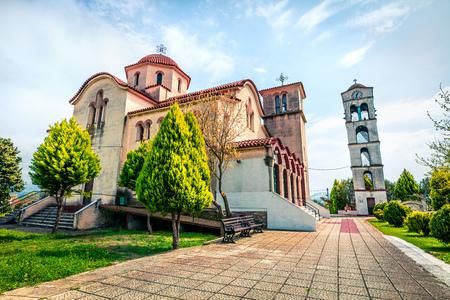 Small Orthodox Church in Nea Kerdilia village. Colorful spring scene in northern Greece. Splendid morning view ofcountryside, Kavala region. Traveling concept background.
