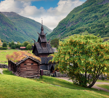 Picturesque summer view of Borgund Stave Church, located in the village of Borgund in the municipality of Lerdal in Sogn og Fjordane county, Norway. Traveling concept background. Stock Photo
