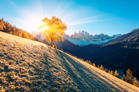 Vue lumineuse sur les collines du village de Santa Maddalena en face du groupe Geisler ou Odle Dolomites. Scène d'automne colorée des Alpes Dolomites, Italie, Europe. Beauté de l'arrière-plan du concept de campagne