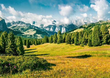 Wonderful summer scene with Furchetta mountain range in the morning mist. View Great view of Dolomite Alps from Sella pass, Italy, Europe. Beauty of nature concept background.