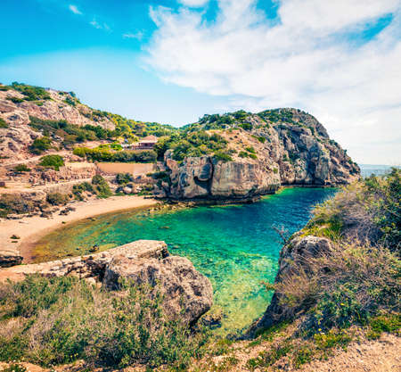 Wonderful spring view of West Court of Heraion of Perachora, Limni Vouliagmenis location. Colorful morning seascape of Aegean sea, Greece, Europe. Traveling concept background.