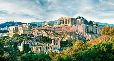 Amazing spring view of Parthenon, former temple, on the Athenian Acropolis, Greece, Europe. Colorful morning scene in Athens. Treveling concept background.