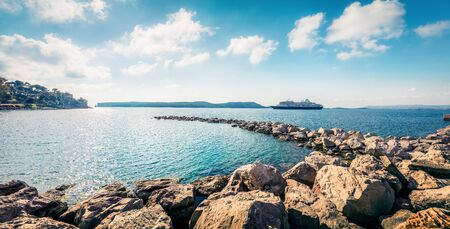 Bright morning view of Pilos port. Sunny spring seascape of Ionian Sea. Beautiful cityscape scene of Greece city. Traveling concept background. Artistic style post processed photo. Zdjęcie Seryjne