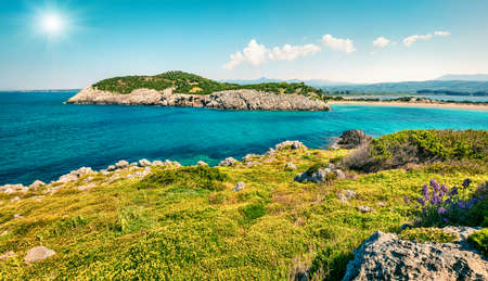 Sunny spring panorama of Voidokilia beach. Bright morning seascape of Ionian Sea, Pilos town location, Greece, Europe. Beauty of nature concept background. Zdjęcie Seryjne