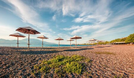 First April warm days on the Nafpaktos beach. Colorful spring view of Corinth Gulf. Splendid morning scene of Greece resort. Vacation concept background. 스톡 콘텐츠