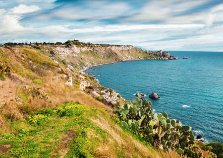 Spectacular morning scene of Milazzo cape with nature reserve Piscina di Venere, Sicily, Italy, Europe. Great spring seascape of Mediterranean sea. Beauty of nature concept background.