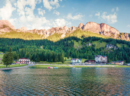 Picturesque morning scene of Misurina lake in National Park Tre Cime di Lavaredo. Exciting summer scene of Dolomite Alps, South Tyrol, Location Auronzo, Italy, Europe. Traveling concept background.