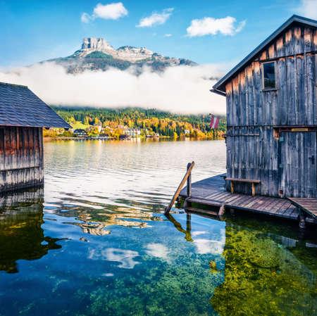 Stunning autumn scene of Altausseer See lake. Bright morning view of Altaussee village, district of Liezen in Styria, Austria.
