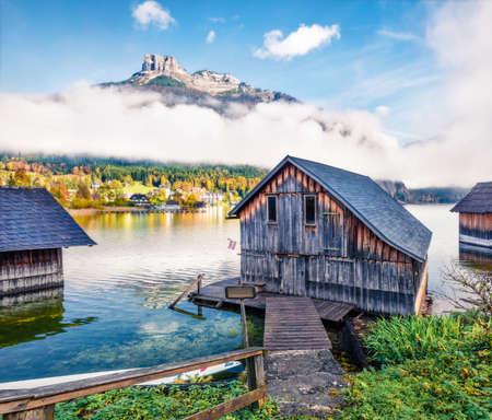 Wonderful autumn scene of Altausseer See lake. Bright morning view of Altaussee village, district of Liezen in Styria, Austria.